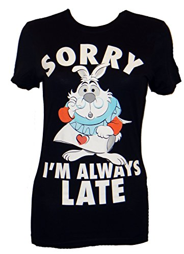 Aice In Wonderland White Rabbit Always Late Juniors T-shirt (Large,Black) (Disney Clothing For Adults)