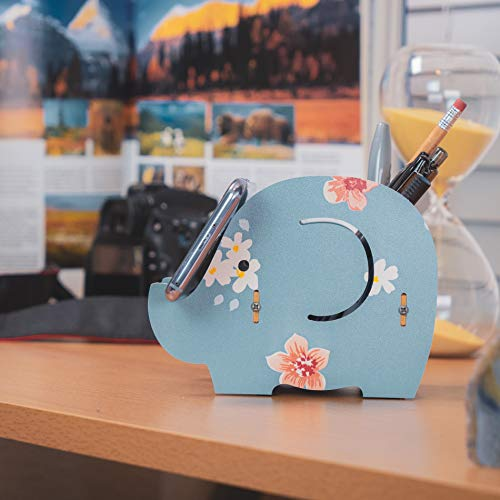 Cell Phone Stand,Dreammax Cute Wood Elephant Pencil Pen Holder ,MultiFunction Removable Mobile Phone Bracket ,Storage Pot Holder Box Desk Organizer compatible iPhone iPad Samsung Tablet (blue)