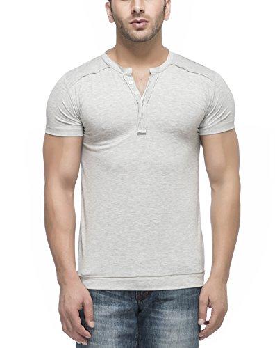 Tinted Men's Solid Henley Half Sleeve T-Shirt,Grey,Medium