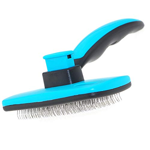 Slicker Firm - Self-Cleaning Slicker Grooming Dogs Cats Brush   Under Coat Rake for Loose Fur   Long Short Haired Pet   Blue Pink Color   Comfy Message Head Relaxation   Push Button for easy clean (BLUE, Large)