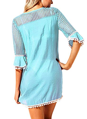 Crochet Di Donna Mode Da Mini Vestito 3 Estivo Abito Elegante Moda Vintage 4 Girocollo Coste Alla Griglia 1 Spiaggia Manica In Con Bikini Blau Ricami A Chic Pizzo Marca KT3l1JcF