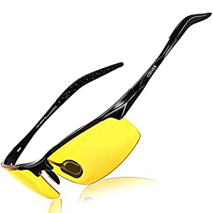 COSVER Men's Polarized Sunglasses for Men Sports Driving Cycling Running Fishing Golf Unbreakable Frame Metal Driver Sunglasses (Hd Night Vision)