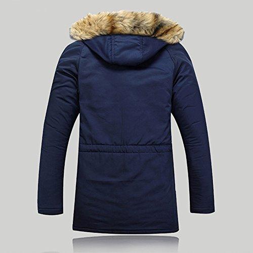 Blouson Outwear Femme Fourrure Casual Veste Homme Couple Avec Automne Fausse Hiver Decha Jacket Pour Bleu Épais 1 Parka Manteau Capuche Chaude qCwOz7T