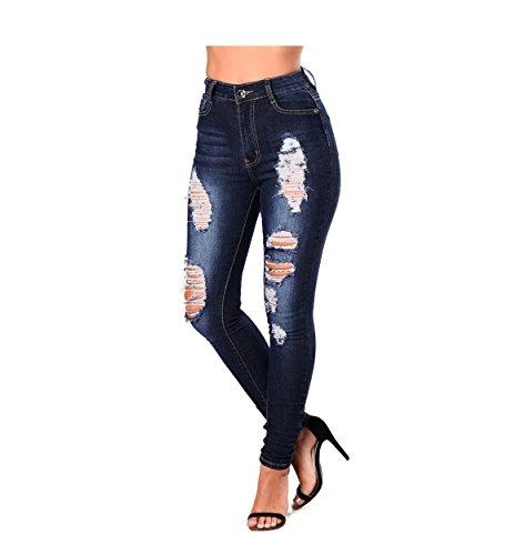 Oudan Damas pantalones vaqueros flacos de la cremallera de cintura alta Jeans jeans ajustados pantalones vaqueros con agujeros Azul Oscuro