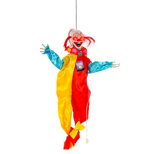 Halloween Haunters Animated Hanging 2 Foot Scary Circus Clown with Moving Arms Prop Decoration - Spooky Laughs, Flashing LED Eyes - Battery Operated -