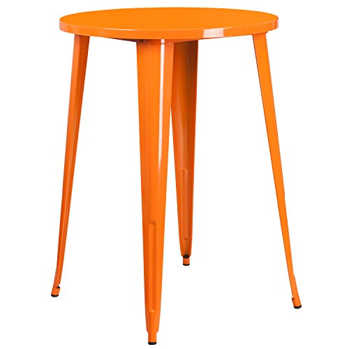 Flash Furniture 30'' Round Orange Metal Indoor-Outdoor Bar Height - Table Metal Retro Round