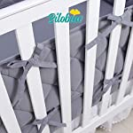 Baby-Bumper-Pads-for-Crib-BeddingNursery-Gray-Crib-Bumper-Pads-Fit-for-Standard-Size-Crib52x28Washable-Soft-Baby-Crib-Padding-for-Boys