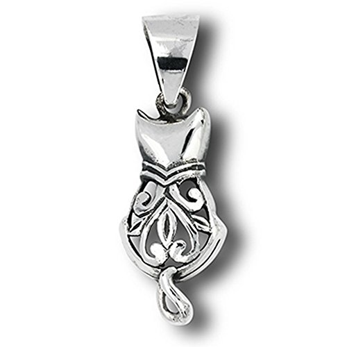 Filigree Cat Pendant .925 Sterling Silver Pet Feline Scroll Animal Heart Charm - Silver Jewelry Accessories Key Chain Bracelet Necklace - Scroll Heart Bracelet