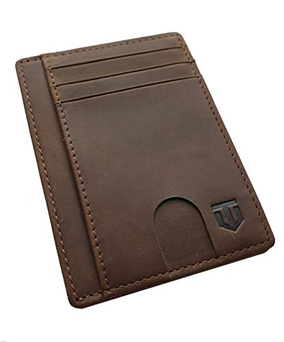 Titanz Slim Minimalist Wallet. Handcrafted Leather Minimal RFID Slim Wallet for Men and Women. Thin and Great for Travel. Sleek Small Card and Front Pocket Wallets for the Sophisticated Individual., Brown
