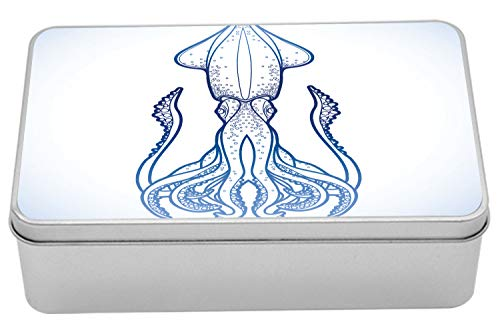 (Ambesonne Kraken Metal Box, Squid in Classic Line Art Styled Graphic Nautical Marine Sea Creature Image Art, Multi-Purpose Rectangular Tin Box Container with Lid, 7.2