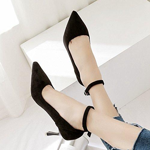 altos Sugerencia 39 la solo de color tacones Negro boquilla de zapatos zapato mujer único de butt luz zapatos de de punta la raBrq
