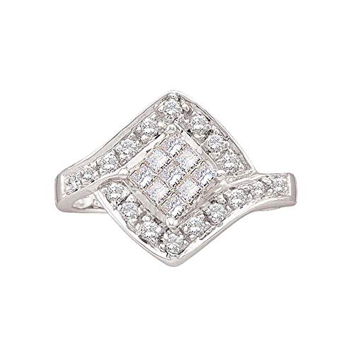 Jewels By Lux 14kt White Gold Womens Princess Diamond Square Cluster Ring 1/2 Cttw In Invisible Setting (I2-I3 clarity; I-J color)