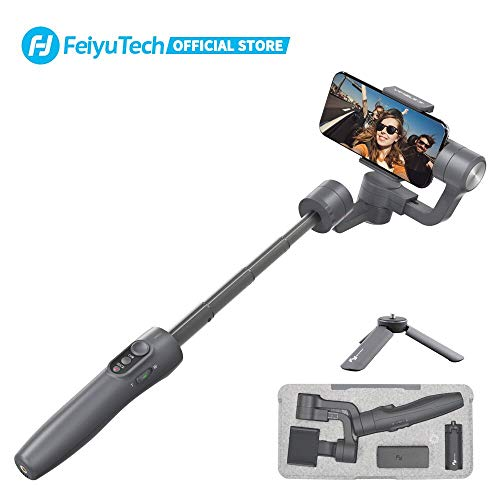 FeiyuTech Vimble 2 Stabilizer 3-Axis Handheld Gimbal with 183mm Telescoping Pole,Fits iPhone Series/Huawei/XIAOMI/MEIZU/Samsung/Oppo/Nubia and Other Smartphones Width Between 57 and 84 mm,Space Gray