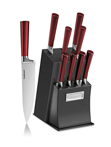 Cuisinart C77RB-11P Vetrano Collection 11-Piece Stainless Steel Cutlery Knife Block Set, Red/Black