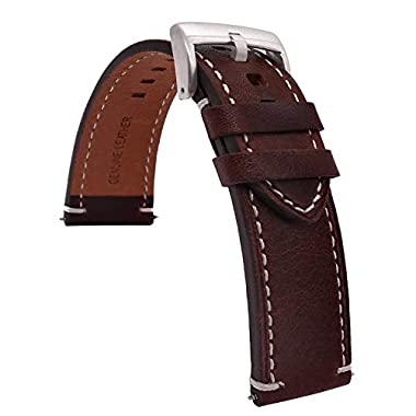 a13eaf2048c4 TIME4BEST Leather Watch Band Strap Stitching 18mm 19mm 20mm 21mm 22mm 23mm  24mm (23mm