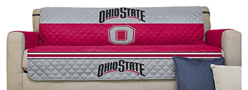 NCAA Ohio State Buckeyes Sofa Couch Reversible Furniture Protector with Elastic Straps, 75-inches by (Ohio State Buckeyes Sofa)