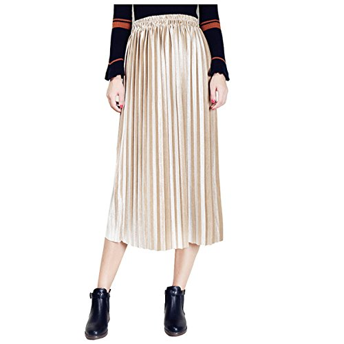 Clarisbelle Women Pleated Velvet Skirt Midi Skirt Premium Metallic Shiny Shimmer Accordion Elastic High Waist Skirt (Small, Golden) ()