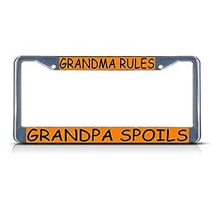Amazon Com License Plate Frame Grandma Rules Grandpa