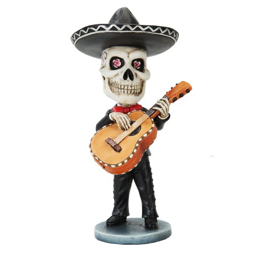 Pacific Trading Skeleton Mariachi Guitarron Player Day of The Dead Bobblehead -