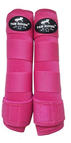 TGW RIDING Horse Sports Medicine Boots Horse Leg Wraps (Dark Pink, L)