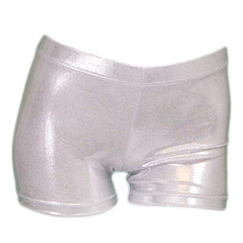 ZIZI Kid Girls' Sparkle Dance Tumbling Sport Gymnastics Silver Short 11Y, 140CM(11-12Years) ()