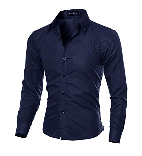 [Jacgfe Shirt Men Shirt Male Solid Color Mandarin Collar Business Long Sleeve Casual Shirt Cotton Dress Shirts M-5XL Navy Asian Size] (Morph Suite)