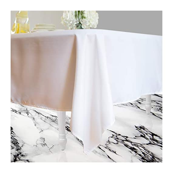 Kadut Rectangle Tablecloth (60 x 126 Inch) White Rectangular Tablecloth for 8 Foot Table | Heavy Duty Washable Table Cloth for Dinner, Parties, Weddings, | Wrinkle-Resistant Dining Table Cover - ☑️ EYE-CATCHING ACCESSORY TO ELEVATE ANY MEAL - Upgrade your kitchen table, dining room table, or buffet table with this stunning White rectangle tablecloth. The White tablecloth is made from smooth, thick hydraulic-loomed polyester that won't snag easily. ☑️ STAINS AND WRINKLES ARE NEVER A CONCERN - If you find yourself using disposable tablecloths instead of fabric table cloths because you hate wrinkles and stains, then this one is exactly what you need. The heavy-duty material is 100% stain and wrinkle resistant. ☑️ VERSATILE TABLECLOTH FOR RECTANGULAR TABLES. Seamless 60 x 126-inch multi-use table cover made from 100% polyester fabric. Great choice for Weddings, Birthday Party, Baby Shower, Food Buffet, Banquet, Thanksgiving and Christmas Dinner. - tablecloths, kitchen-dining-room-table-linens, kitchen-dining-room - 41jeNc7TxfL. SS570  -