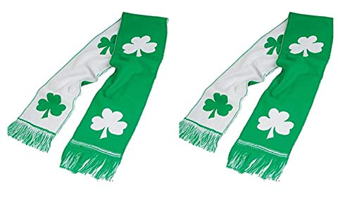 St Patricks Shamrock Scarves - 2 Pack Green