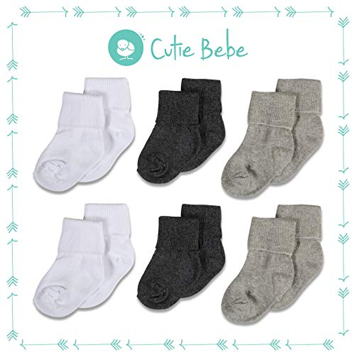 (Cotton Baby Socks, Boys or Girls Sizes Newborn Infant to Toddler, Roll Cuff, 6-Pack, Gray/White/Charcoal, by Cutie Bebe)
