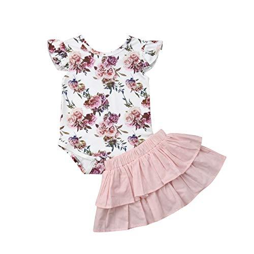 dextrad dresses Newborn Infant Baby Girl 2PCS Outfits Flower Short Sleeve Romper Bodysuit+Ruffles Skirts Baby Girl Costume Pink -