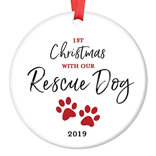 Rescue Dog Ornament Pet Adoption 2019 Holiday Tree First Year 1st Christmas New Forever Home Doggie Puppy Adopted Ceramic Collectible Present 3