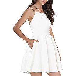FANCYINN Women Sexy Backless Spaghetti Strap Floral Print Short Mini Casual Dress White M
