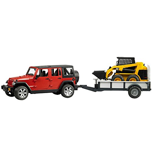 Bruder Jeep Wrangler Unlimited Rubicon with Trailer and CAT Skid Steer