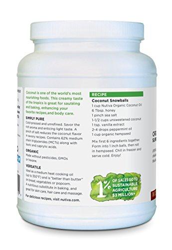 Nutiva Organic, Cold-Pressed, Unrefined, Virgin Coconut Oil from Fresh, non-GMO, Sustainably Farmed Coconuts, 78-ounce by Nutiva (Image #2)