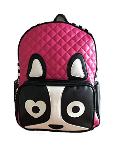 Betsey Johnson Fuchsia LBROXXY Black White Pink Puppy Backpack 17'' by Luv Betsey