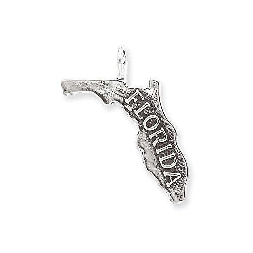 Sterling Silver Antiqued Florida State Charm (24 x (Sterling Silver Florida State Charm)