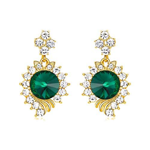 - Yonhi Elegant Dangle Wedding Earrings Women Teardrop Drop Earrings Wedding Jewelry Bridal Cubic Zirconia Drop Earring (Green)