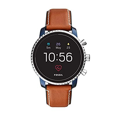 Fossil Men's Gen 4 Q Explorist HR Stainless Steel and Leather Touchscreen Smartwatch, Color: Blue, Brown (Model: FTW4016) from Fossil Connected Watches Child Code