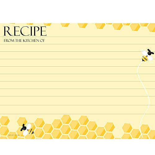 Cookbook People 5x7 Recipe Cards Beehive Apiary Large Size ()