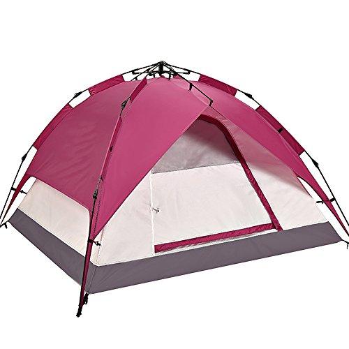 許可するリーチ正確さQFFL zhangpeng アウトドアテント自動肥厚雨テントダブルキャンプテント4色オプション トンネルテント ( 色 : A )