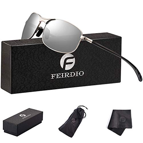 Polarized Sport Sunglasses for Men - Feirdio Mens Sunglasses Metal Frame 100% UV protection 2268(silver)
