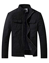 WenVen Men's Tactical Jacket Cotton Military Outwear