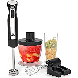 Royal 5-Piece Hand Blender Set [200 Watts] - 2 Speed Food Processor/Chopper, Hand Mixer, and Smoothie Immersion Blender, Whisk and Wall Attachment
