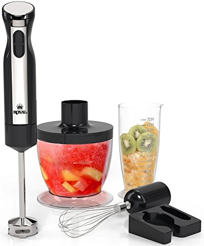 Royal 5-Piece Hand Blender Set [200 Watts] – 2 Speed Food Processor/Chopper, Hand Mixer, and Smoothie Immersion Blender, Whisk and Wall Attachment