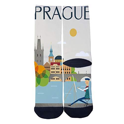 Mens Womens Casual Prague City Travel Poster Socks Crazy Custom Socks Creative Personality Crew Socks -
