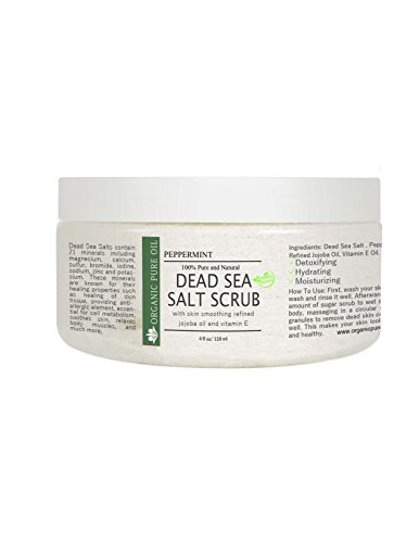 100% Pure and Natural Dead Sea Salt Scrub | Hydrating and Moisturizing | Gently Exfoliates Face Body Feet & Hands with Soothing Jojoba Oil and Vitamin E by Organic Pure Oil (Peppermint, 4 oz)