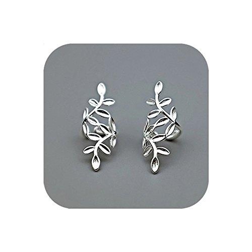 Hanloud Sliver Tone Leaf Cuff Wrap Earrings Non-Pierced Ear Clip on Cartilage Earrings for Girl - Cuff Ear Earring