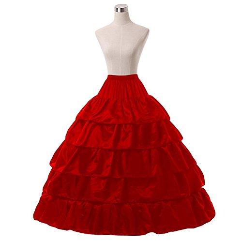 de Rouge de jupe jupon underskirt robe femme Crinoline pour robe OULII marie bal OwvpBp
