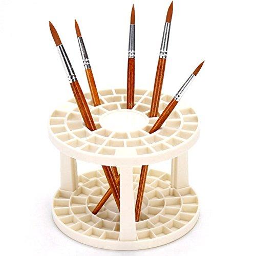 Hisight Plastic Artist Round Multi Hole Paint Brush Holder - Holds 52 Brushes Upright (1pcs)