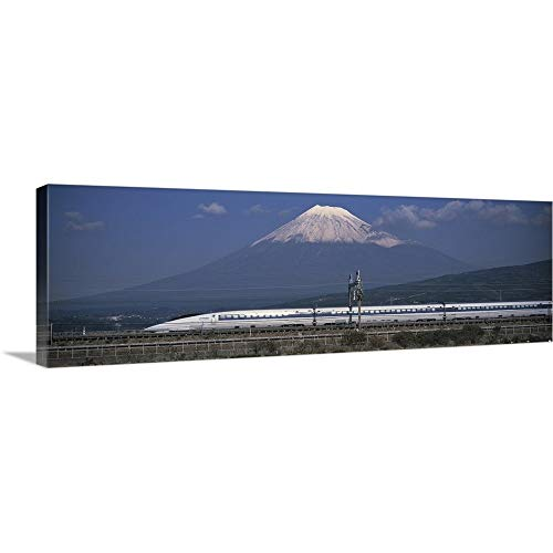 GREATBIGCANVAS Gallery-Wrapped Canvas Entitled Bullet Train Mount Fuji Japan by 60